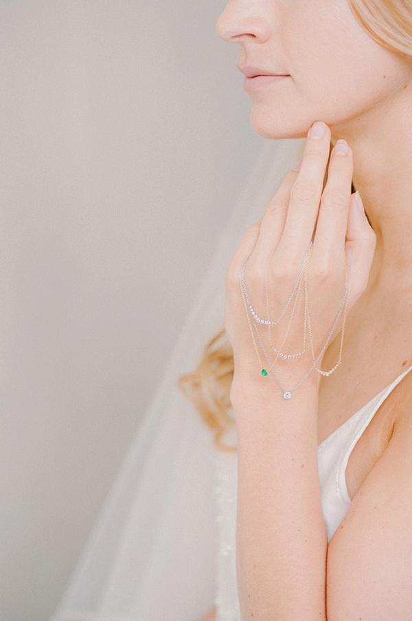 Delicate Diamond and Emerald Bridal Necklaces
