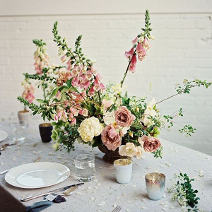 aa4d5405492 Beautiful romantic floral centrepiece by Soil   Stem with Pink Roses and  Foxgloves
