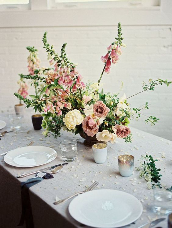 Beautiful romantic floral centrepiece by Soil & Stem with Pink Roses and Foxgloves