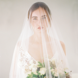 Elegant bridal veil completing the bride's portrait