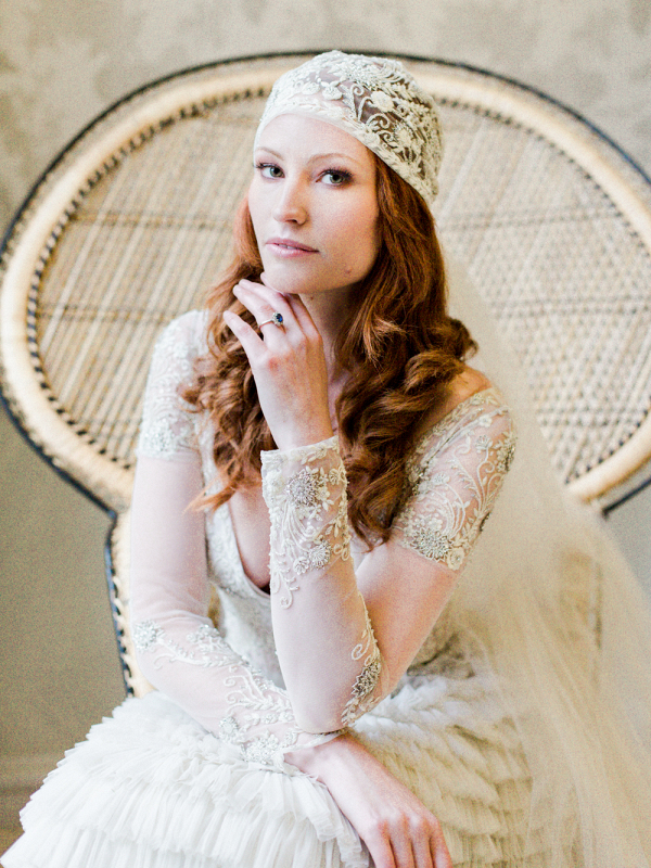 Highly embellished juliet cap style veil and embroidered long sleeve wedding gown by Bowden Dryden