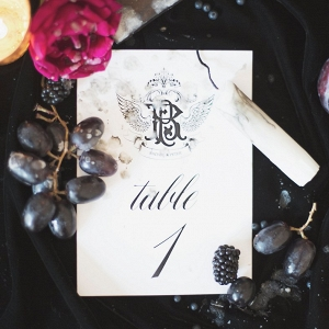 Gothic Inspired Wedding Stationery with Candles, Roses and Grapes