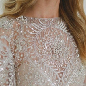 embellished wedding gown on tulle