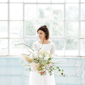 Beautiful contemporary bridal bouquet by Little Thatch Flowers
