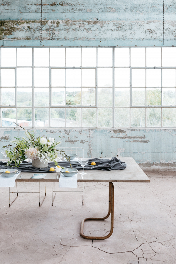 The Contemporary industrial wedding table setting with lemons