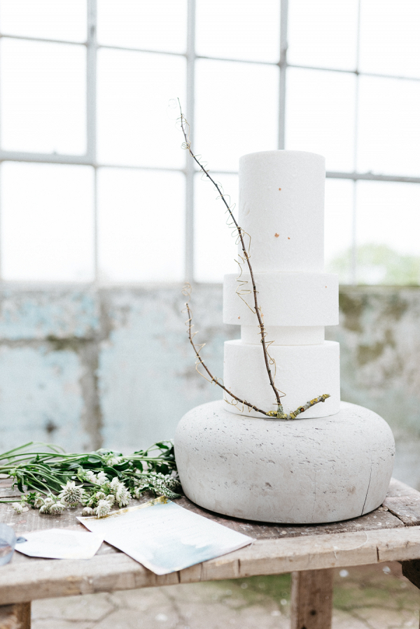 Incredible modern wedding cake on concrete base by The Silver Cake
