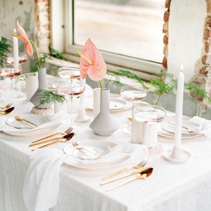 table setting with minimalist style and urban luxe feel