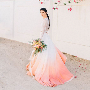 modern wedding dress fading from white to coral