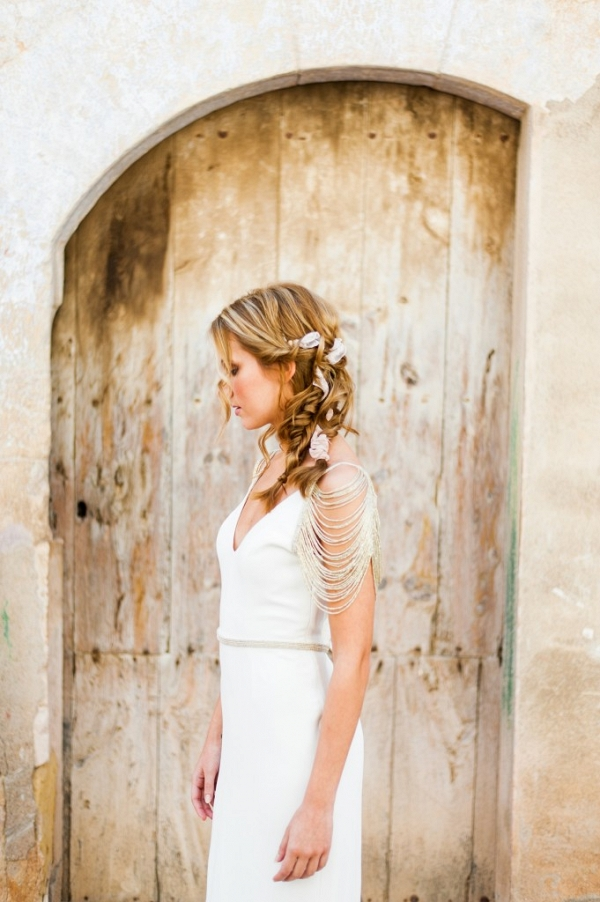 Contemporary Silver Chain Sleeve Wedding Dress from Luella's Bridal