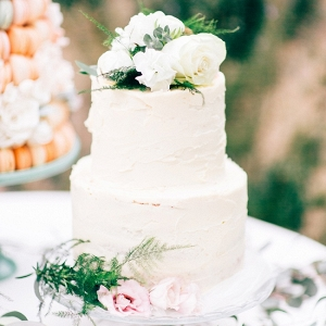 Rustic Buttercream Wedding Cake with Fresh Flowers