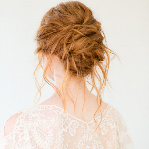 Beautiful bridal hairstyle with an updo and loose pieces