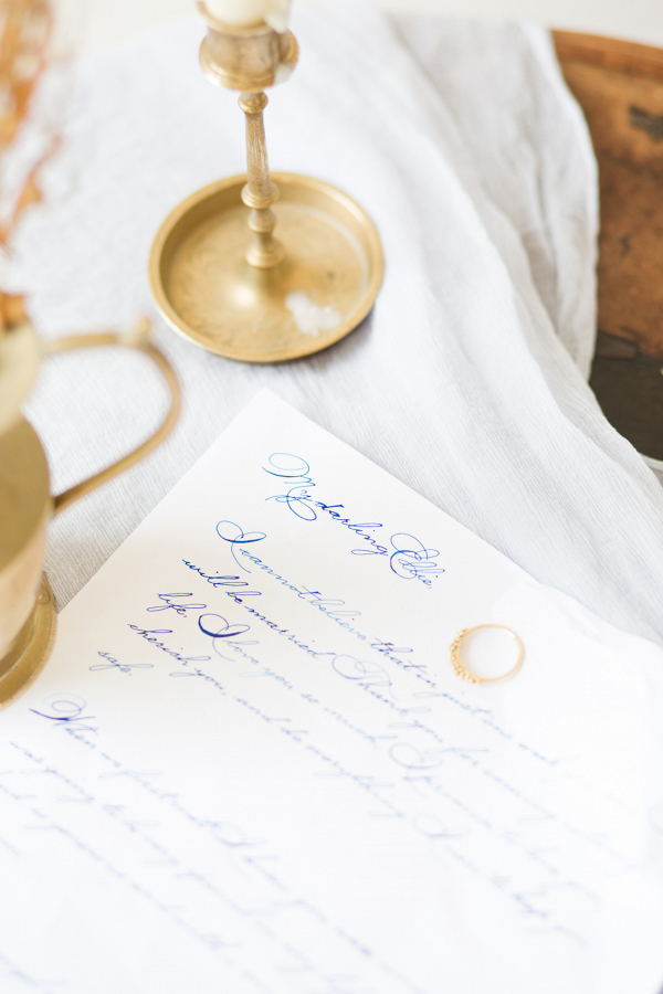 fine art stationery and details with brass and calligraphy love letter