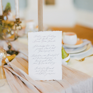 handwritten wedding menu with calligraphy writing