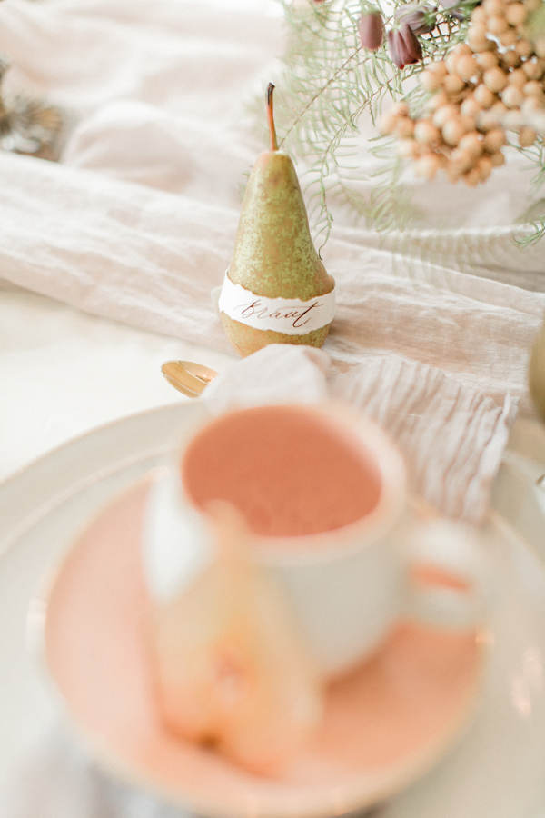 English Pear inspired place setting name cards