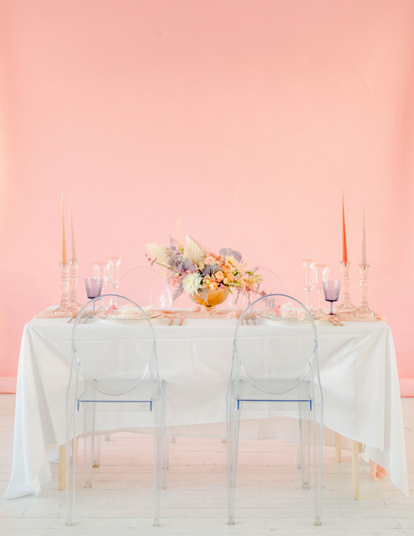 Contemporary pink and white sedding table ideas with clear chairs