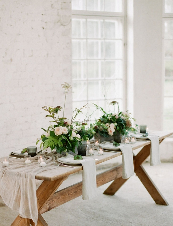 rustic and bohemian luxe wedding table setting