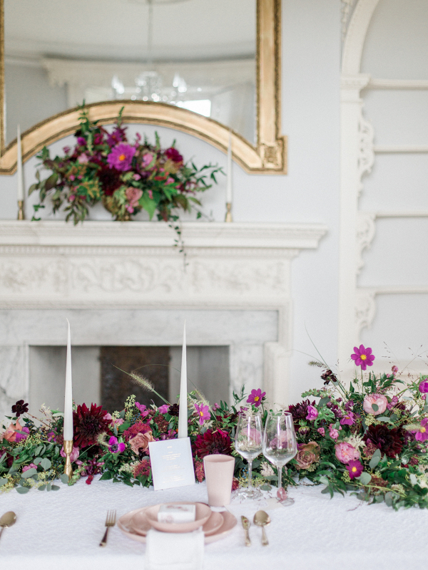 Romantic winter wedding table setting inspiration with  pink colour palette