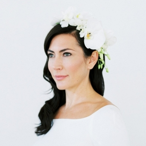 elegant bridal style with orchid floral crown