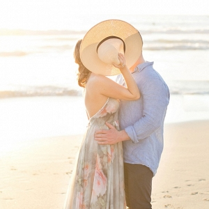 Romantic Beach Couple Portraits at Sunset