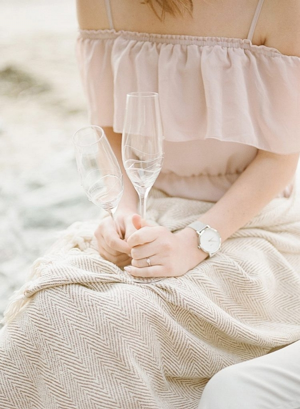 Champagne Picnic Romantic Beach Engagement Session