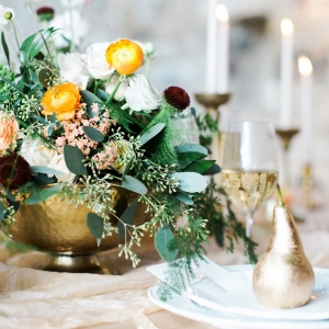 Fall tablescape with gold pears