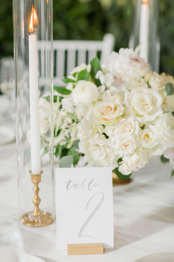 tall candlesticks and elegant white floral centrepieces