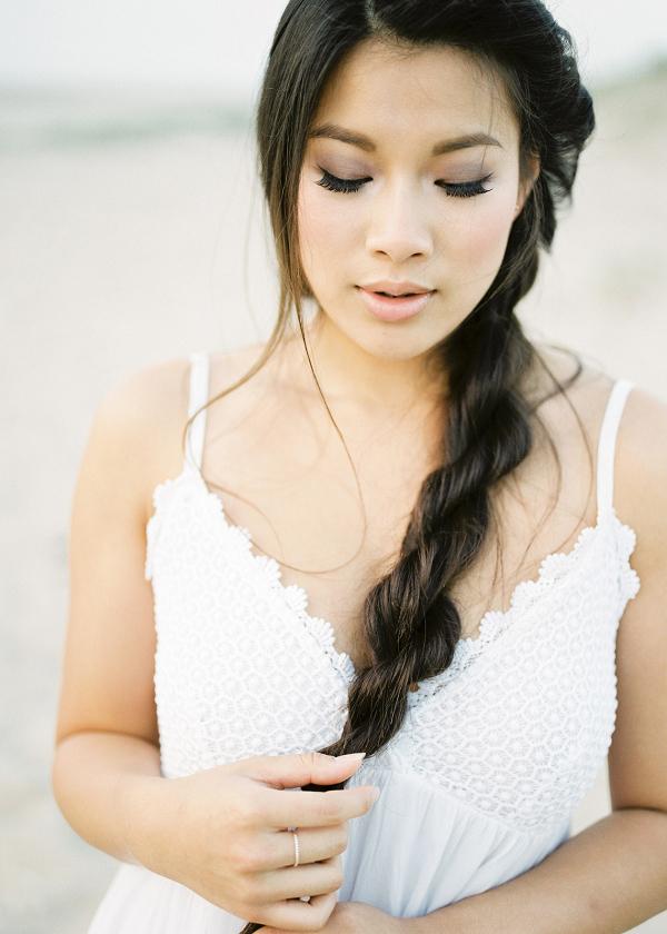 casual beach dress and loose braided hair