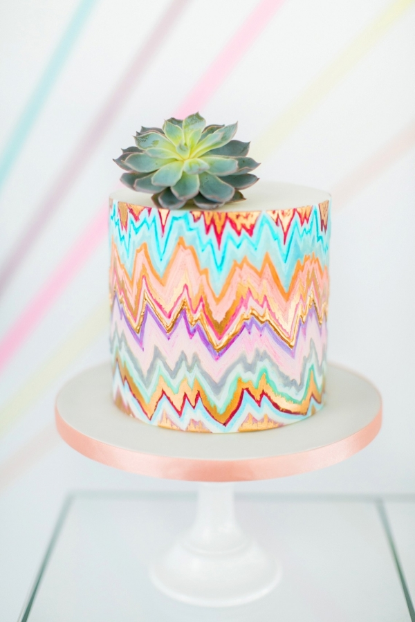 Tribal-inspired Geometric Wedding Cake