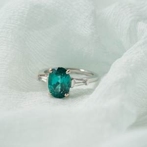 teal coloured stone engagement ring