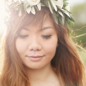 sunlit portrait wearing a floral crown