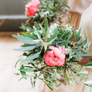 Wild organic coral peony bouquet with queen anne's lace and eucalyptus