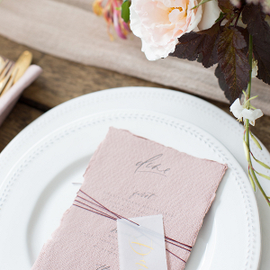muted pink stationery by pale press london bound with thread
