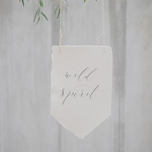 Calligraphy pennants with wild spirit written on them