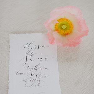 Sweet pink florals and handwritten calligraphy stationery