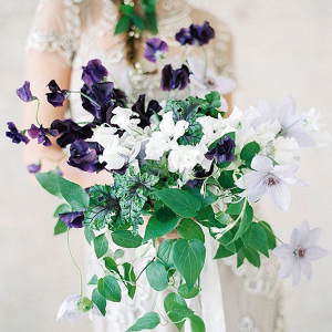 Fine art bridal bouquet of green ivy and deep purple florals