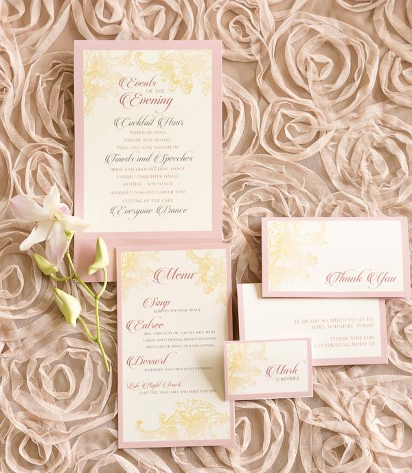 Blush Pink Inspired Wedding Invitation Suite