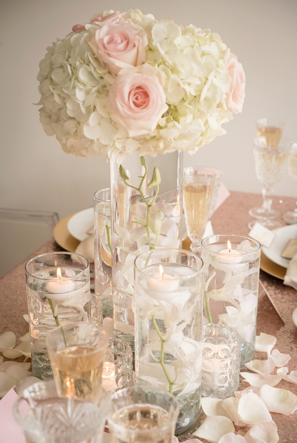 Romantic Inspired Wedding Centerpiece with Floating Orchids and Candles