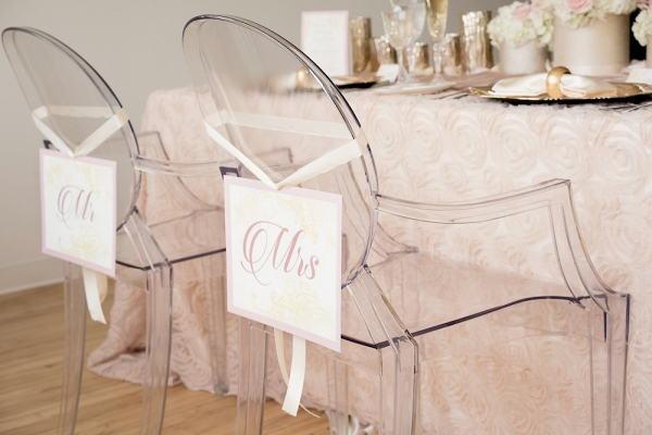 Clear Wedding Chairs with Mr and Mrs Signs