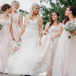 Canadian Pretty in Pink Bridesmaids Dresses