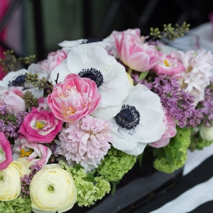 Bridal Shower Centerpiece with Anemones and Peonies