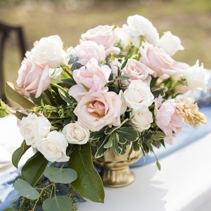 Pretty Centerpiece in Peach and Pink with Roses