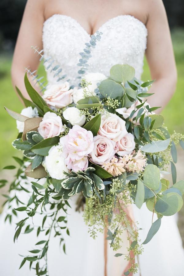 A Lush Bridal Bouquet in Peachy Pink