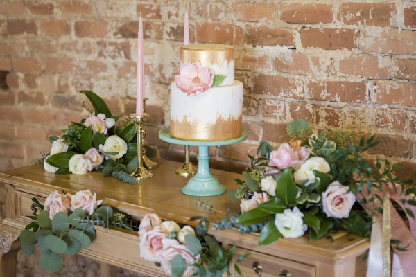 Peachy Pink Dessert Table with a Sugar Flower Topped Wedding Cake
