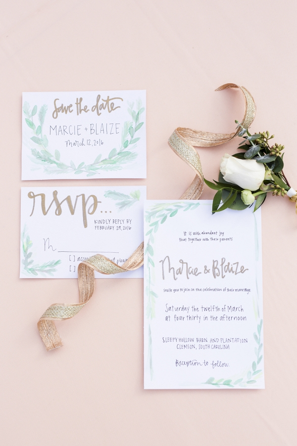 Hand Illustrated Watercolor Peachy Pink Invitation Suite