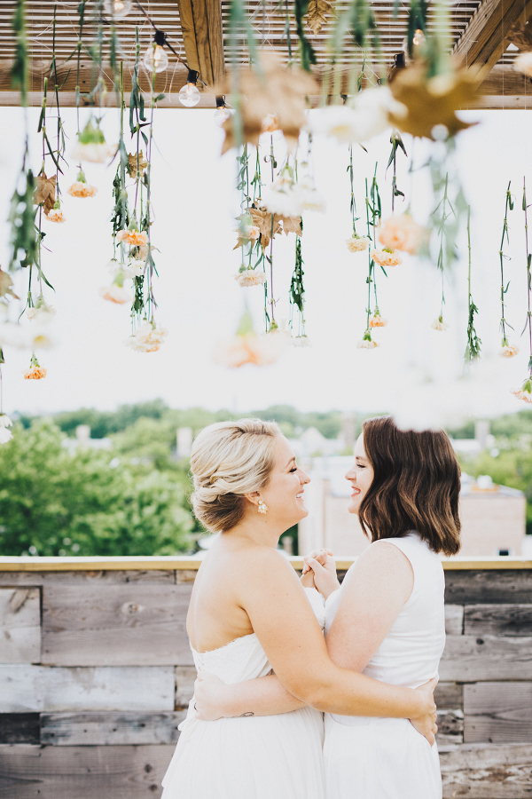 Brides on rooftop