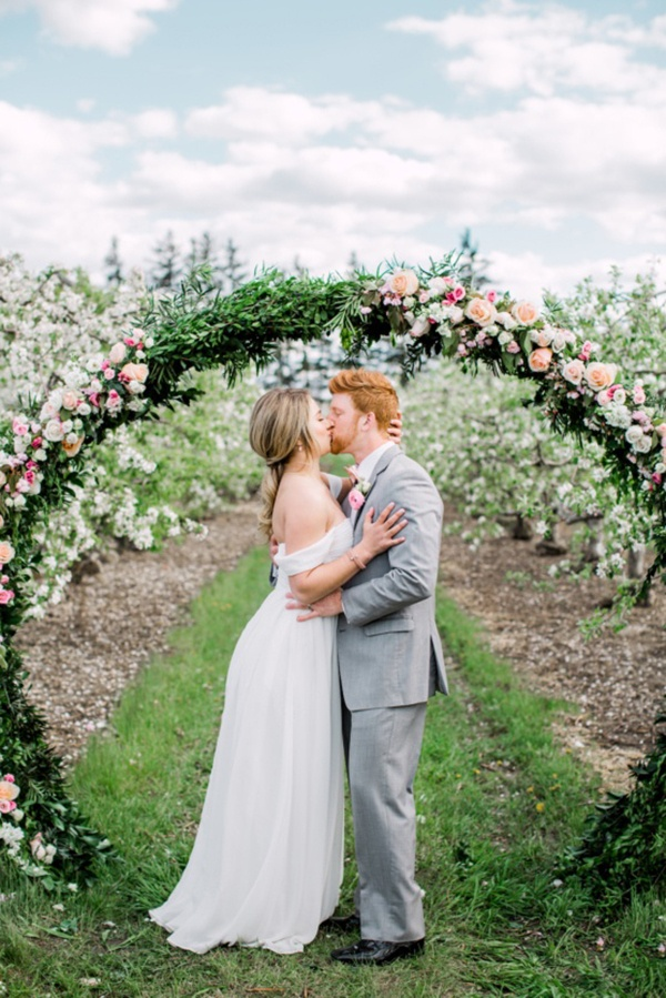 Romantic orchard ceremony