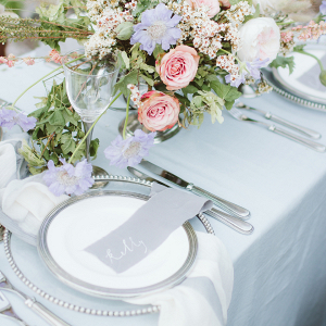 Romantic blue and pink tablescape