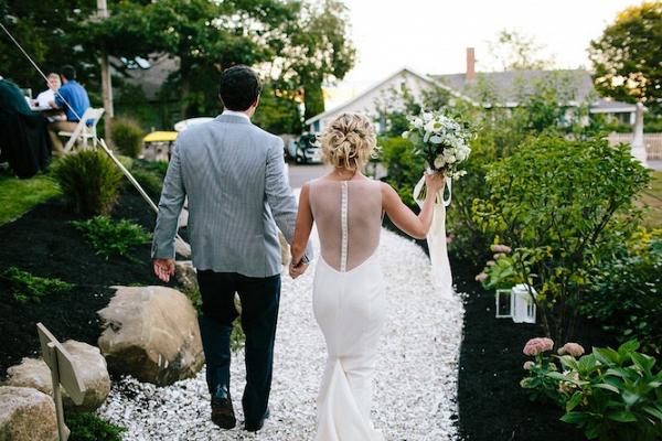 Couple entering reception