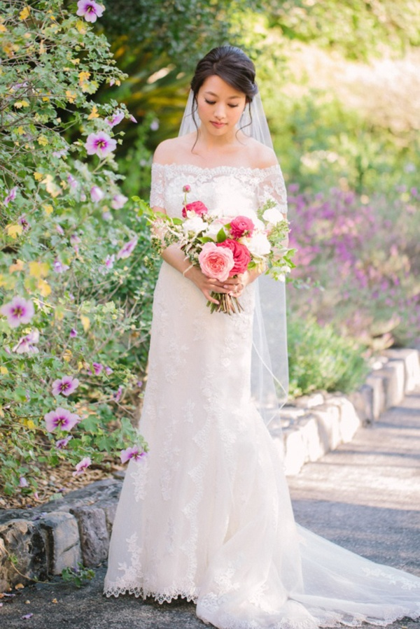 Bride in lace wedding dress