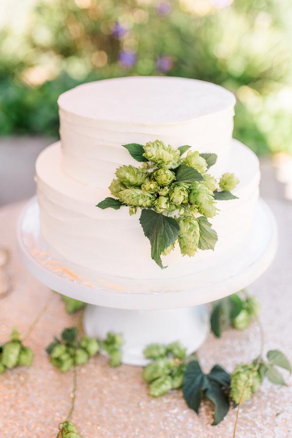 Hops decorated wedding cake